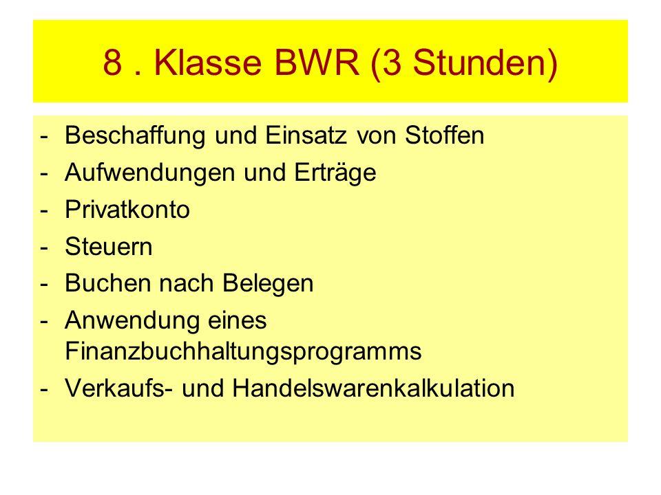 8. Klasse BWR (3 Stunden) -Beschaffung und Einsatz von Stoffen -Aufwendungen und Erträge -Privatkonto -Steuern -Buchen nach Belegen -Anwendung eines F