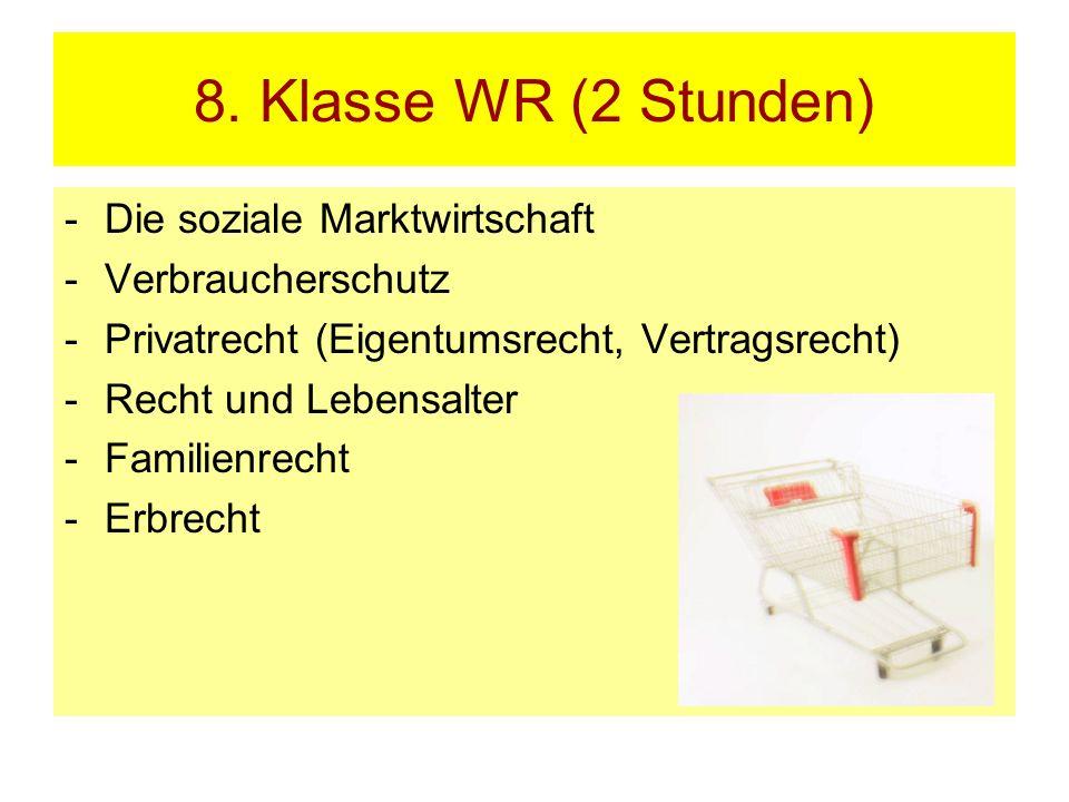 8. Klasse WR (2 Stunden) -Die soziale Marktwirtschaft -Verbraucherschutz -Privatrecht (Eigentumsrecht, Vertragsrecht) -Recht und Lebensalter -Familien