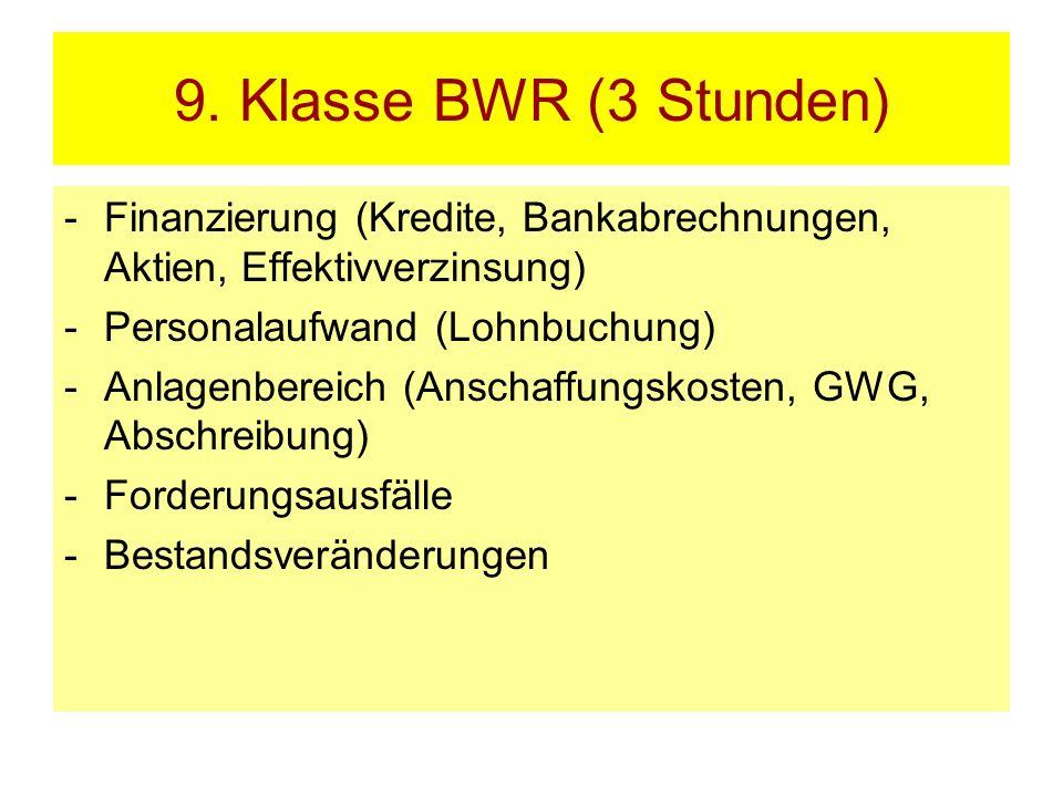 9. Klasse BWR (3 Stunden) -Finanzierung (Kredite, Bankabrechnungen, Aktien, Effektivverzinsung) -Personalaufwand (Lohnbuchung) -Anlagenbereich (Anscha