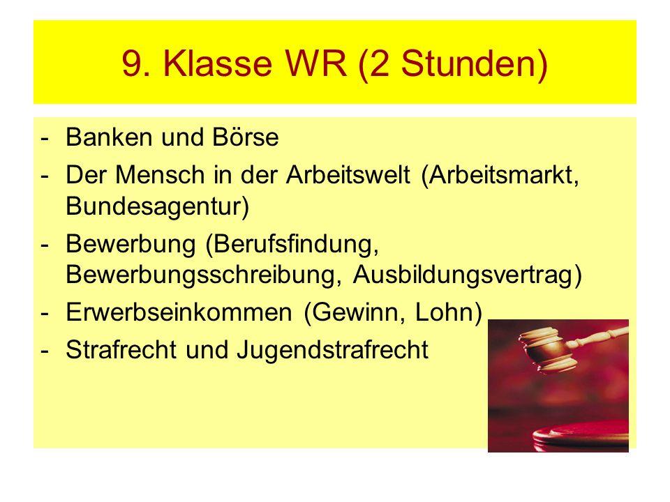 9. Klasse WR (2 Stunden) -Banken und Börse -Der Mensch in der Arbeitswelt (Arbeitsmarkt, Bundesagentur) -Bewerbung (Berufsfindung, Bewerbungsschreibun