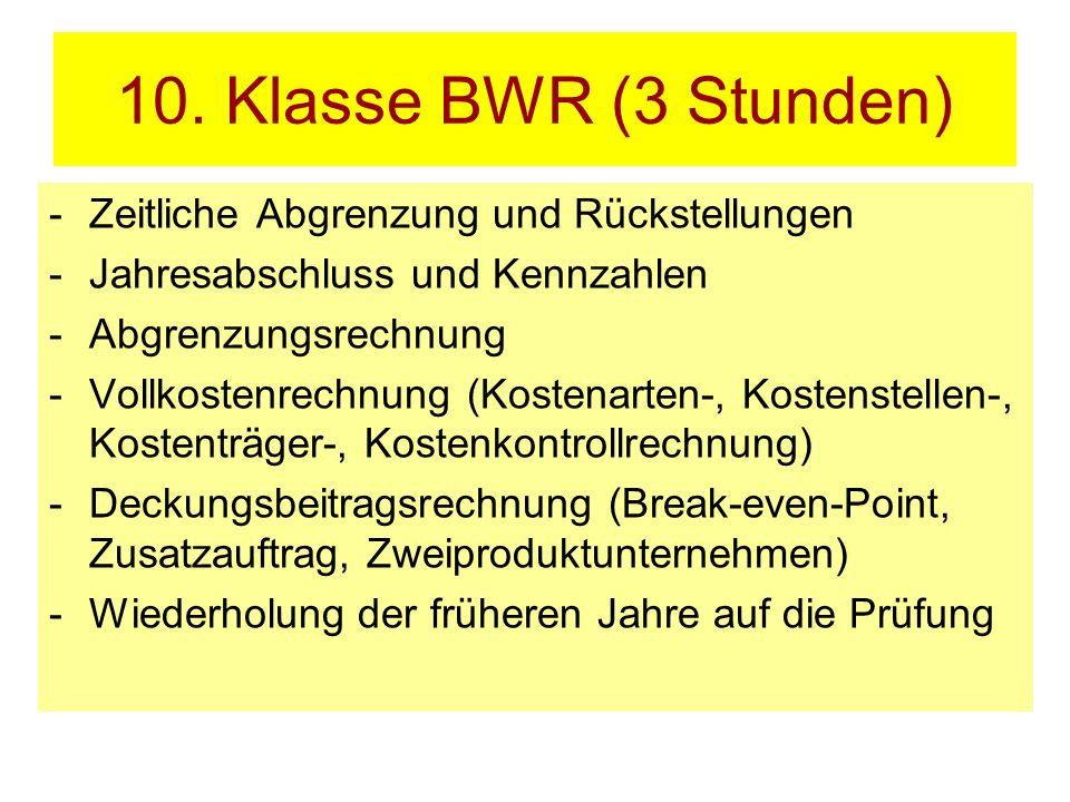 10. Klasse BWR (3 Stunden) -Zeitliche Abgrenzung und Rückstellungen -Jahresabschluss und Kennzahlen -Abgrenzungsrechnung -Vollkostenrechnung (Kostenar