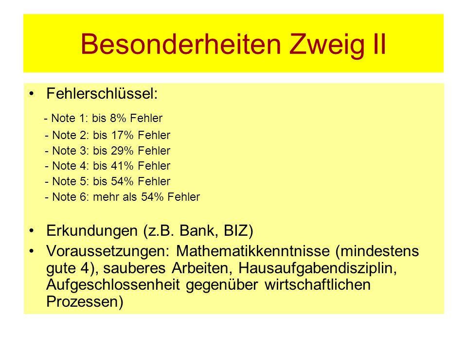Besonderheiten Zweig II Fehlerschlüssel: - Note 1: bis 8% Fehler - Note 2: bis 17% Fehler - Note 3: bis 29% Fehler - Note 4: bis 41% Fehler - Note 5:
