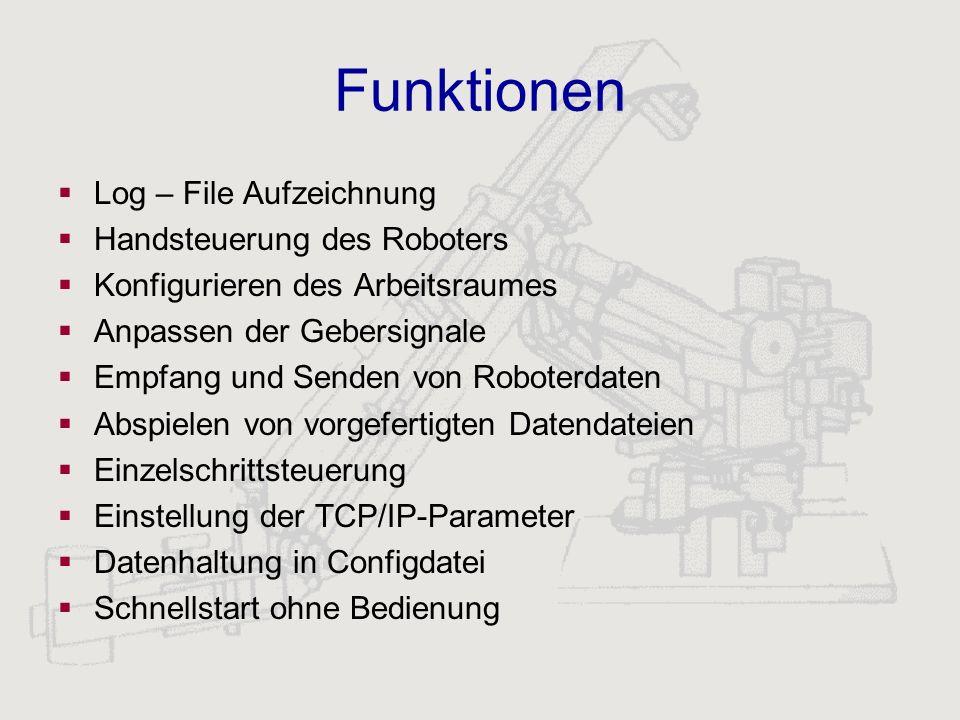 Funktionen Log – File Aufzeichnung Handsteuerung des Roboters Konfigurieren des Arbeitsraumes Anpassen der Gebersignale Empfang und Senden von Roboter