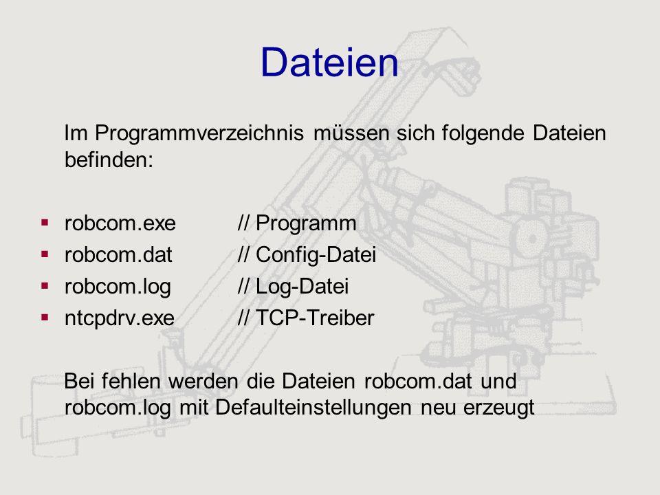Dateien Im Programmverzeichnis müssen sich folgende Dateien befinden: robcom.exe// Programm robcom.dat // Config-Datei robcom.log// Log-Datei ntcpdrv.