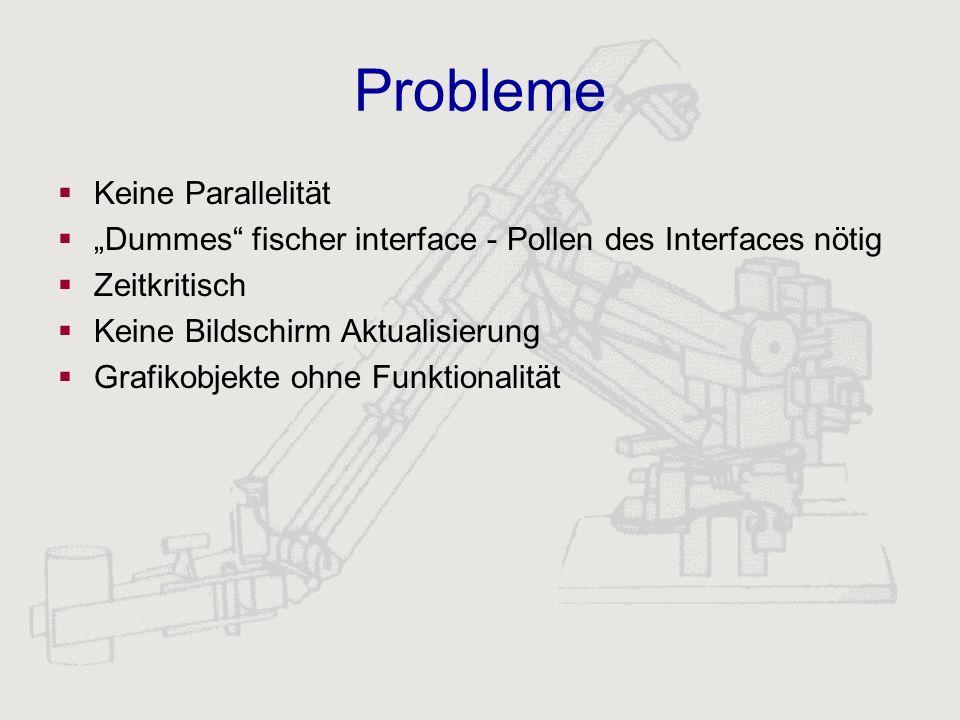 Probleme Keine Parallelität Dummes fischer interface - Pollen des Interfaces nötig Zeitkritisch Keine Bildschirm Aktualisierung Grafikobjekte ohne Fun