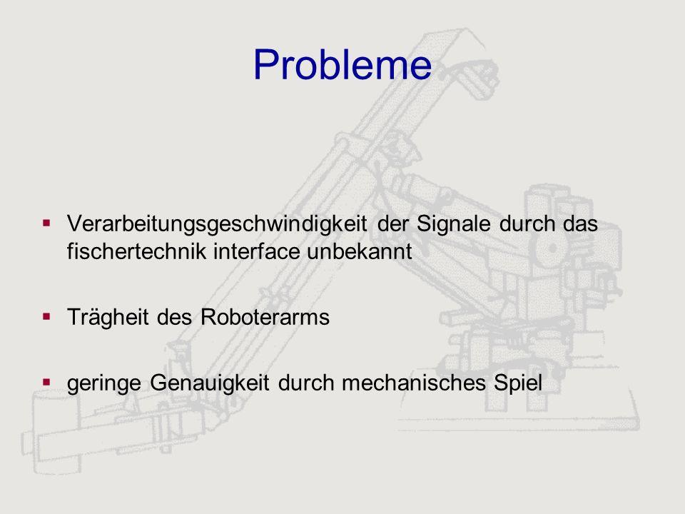 Probleme Verarbeitungsgeschwindigkeit der Signale durch das fischertechnik interface unbekannt Trägheit des Roboterarms geringe Genauigkeit durch mech