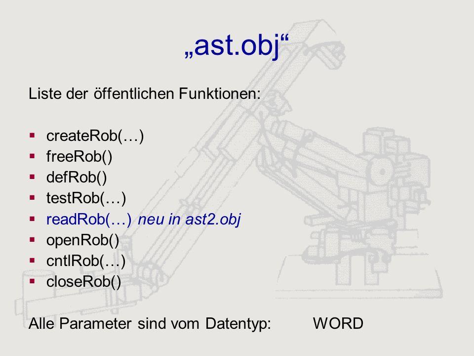 ast.obj Liste der öffentlichen Funktionen: createRob(…) freeRob() defRob() testRob(…) readRob(…) neu in ast2.obj openRob() cntlRob(…) closeRob() Alle