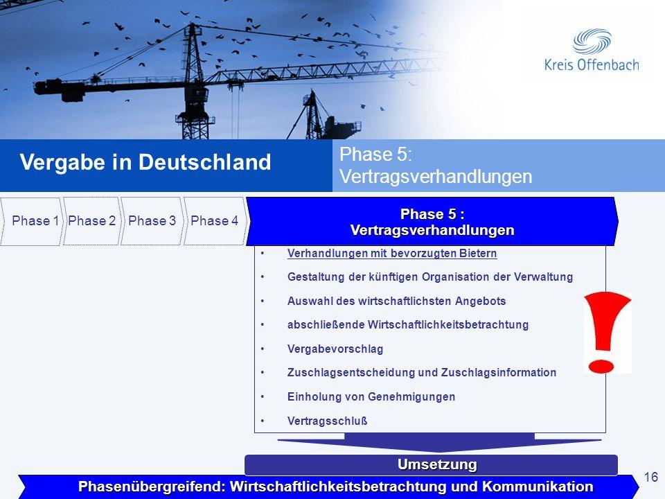 16 Vergabe in Deutschland 16 Phase 5: Vertragsverhandlungen Phasenübergreifend: Wirtschaftlichkeitsbetrachtung und Kommunikation Umsetzung Phase 1 Pha