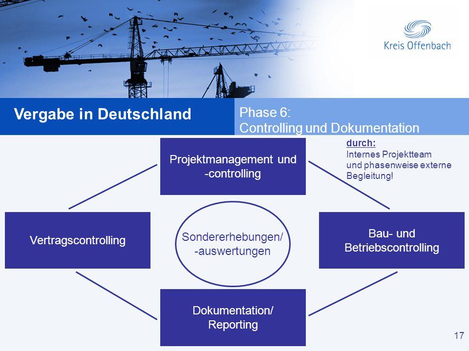 17 Vergabe in Deutschland 17 Projektmanagement und -controlling Vertragscontrolling Bau- und Betriebscontrolling Dokumentation/ Reporting Sondererhebu
