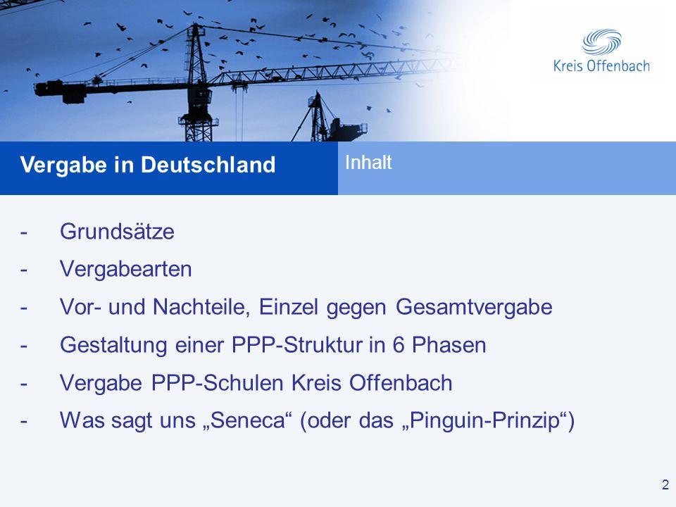 2 Vergabe in Deutschland 2 -Grundsätze -Vergabearten -Vor- und Nachteile, Einzel gegen Gesamtvergabe -Gestaltung einer PPP-Struktur in 6 Phasen -Verga