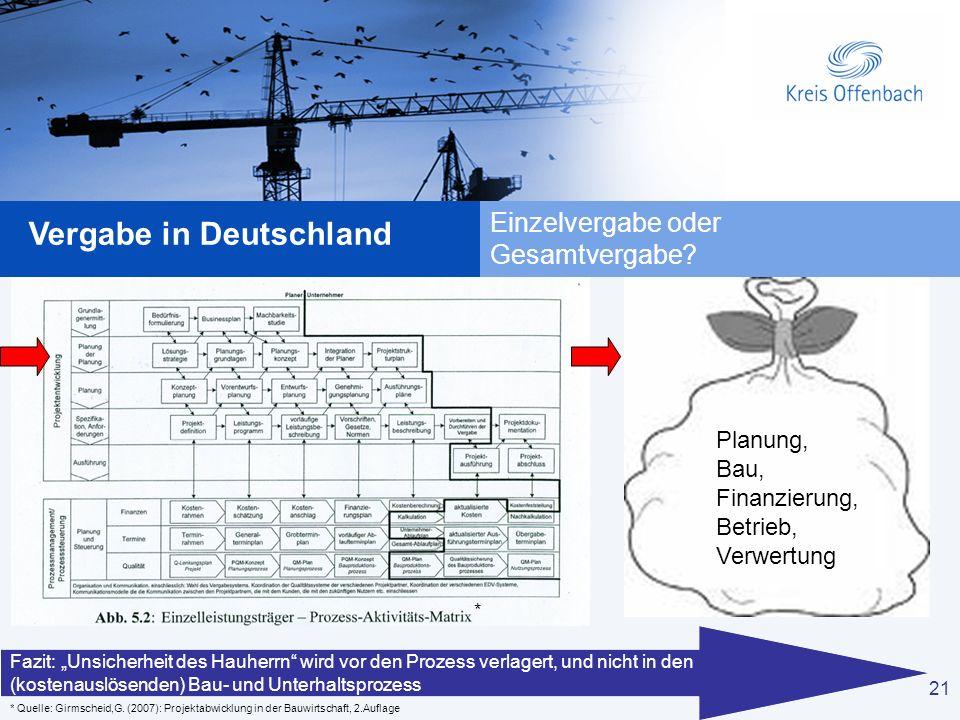 21 Vergabe in Deutschland 21 Einzelvergabe oder Gesamtvergabe? * Quelle: Girmscheid,G. (2007): Projektabwicklung in der Bauwirtschaft, 2.Auflage Planu