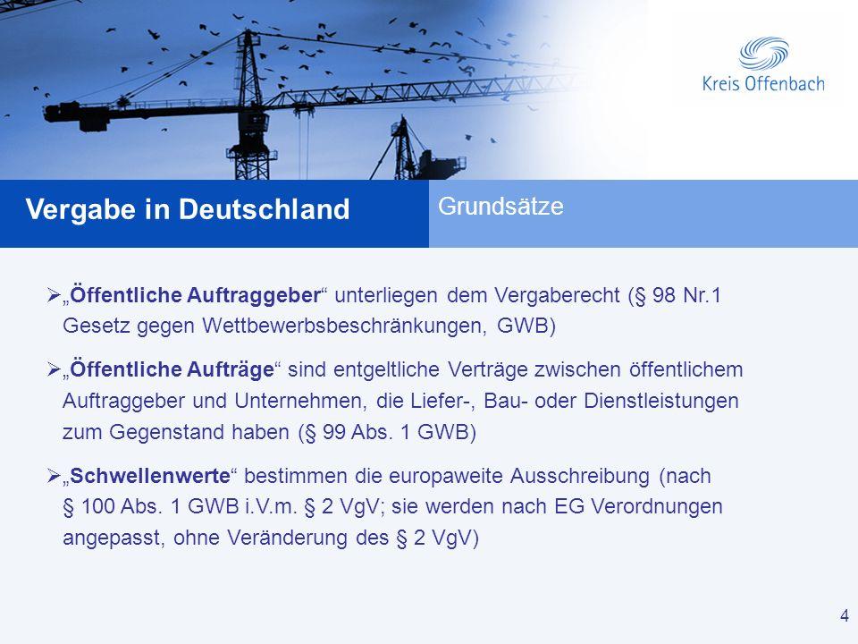 4 Vergabe in Deutschland 4 Grundsätze Öffentliche Auftraggeber unterliegen dem Vergaberecht (§ 98 Nr.1 Gesetz gegen Wettbewerbsbeschränkungen, GWB) Öf