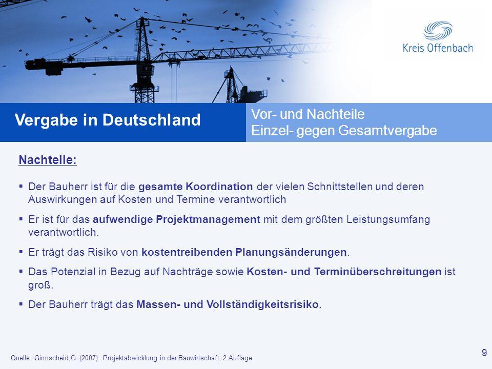 9 Vergabe in Deutschland 9 Vor- und Nachteile Einzel- gegen Gesamtvergabe Nachteile: Der Bauherr ist für die gesamte Koordination der vielen Schnittst