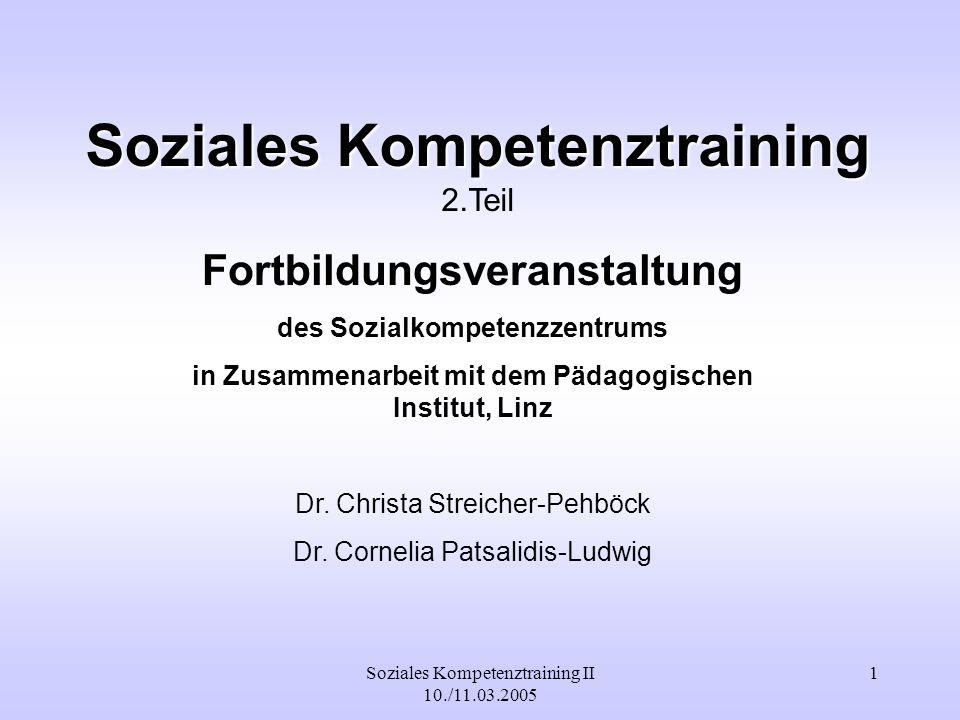 Soziales Kompetenztraining II 10./11.03.2005 2 K ommunikative K ompetenz SchülerInnen lernen verschiedene Gesprächsformen zu unterscheiden.