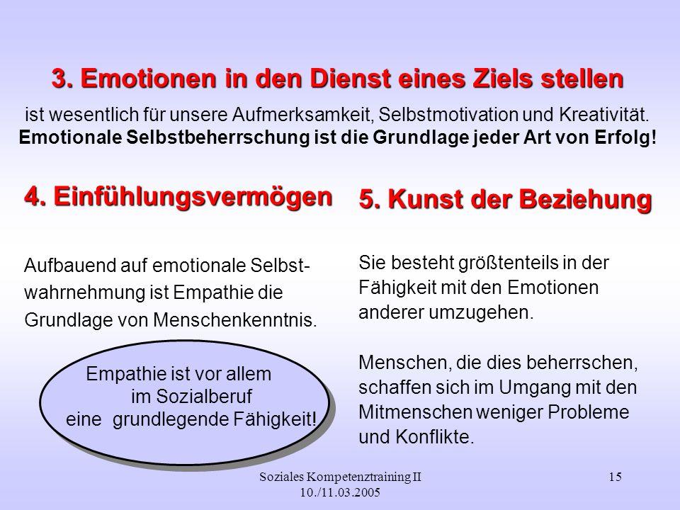 Soziales Kompetenztraining II 10./11.03.2005 15 3. Emotionen in den Dienst eines Ziels stellen 3. Emotionen in den Dienst eines Ziels stellen ist wese