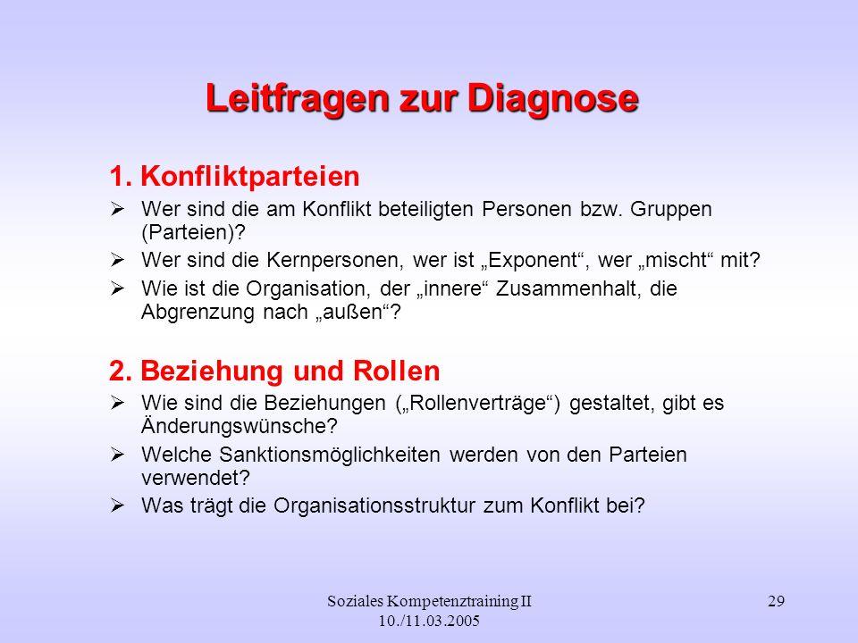 Soziales Kompetenztraining II 10./11.03.2005 29 Leitfragen zur Diagnose 1. Konfliktparteien Wer sind die am Konflikt beteiligten Personen bzw. Gruppen