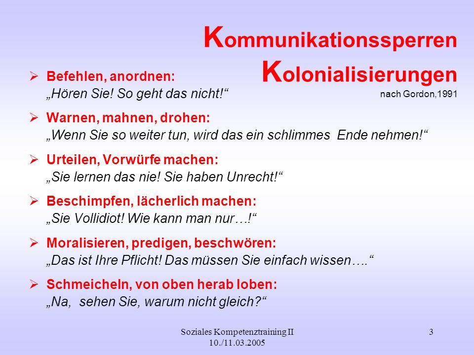 Soziales Kompetenztraining II 10./11.03.2005 4 Trösten, beschwichtigen: Na, wer wird sich denn gleich aufregen.