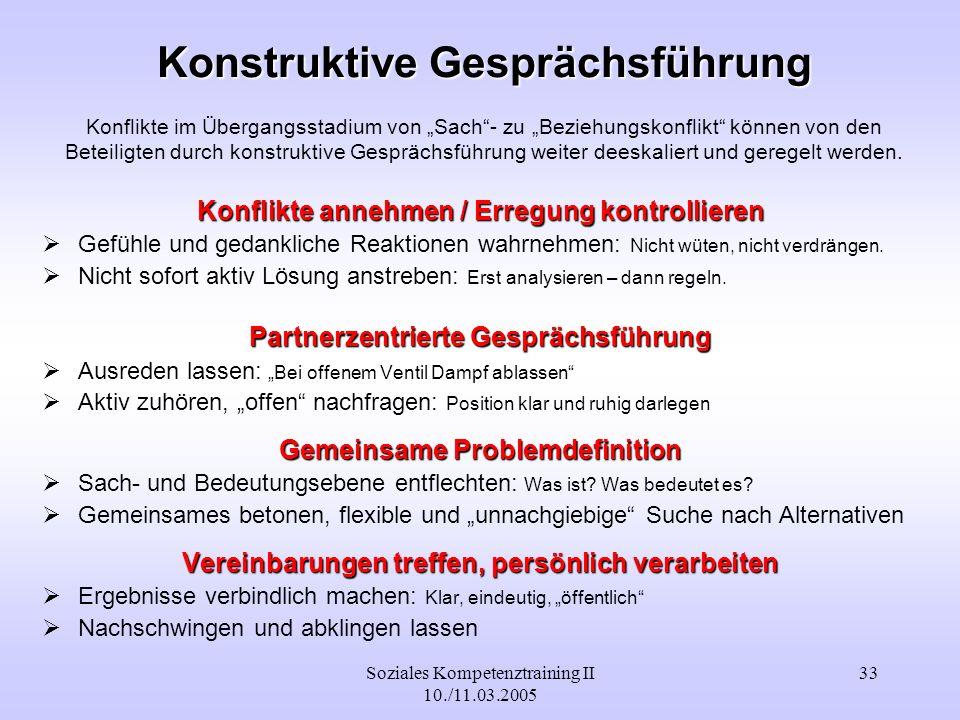 Soziales Kompetenztraining II 10./11.03.2005 33 Konstruktive Gesprächsführung Konstruktive Gesprächsführung Konflikte im Übergangsstadium von Sach- zu