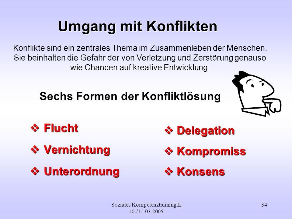 Soziales Kompetenztraining II 10./11.03.2005 34 Umgang mit Konflikten Flucht Flucht Vernichtung Vernichtung Unterordnung Unterordnung Delegation Deleg