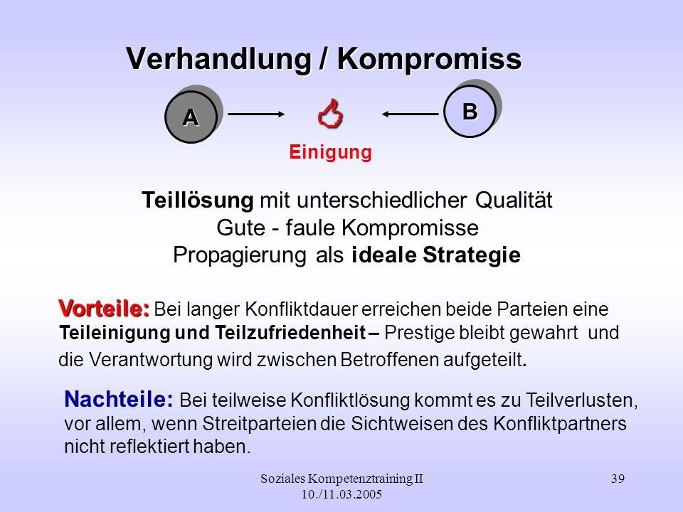 Soziales Kompetenztraining II 10./11.03.2005 39 Verhandlung / Kompromiss AA BB Einigung Teillösung mit unterschiedlicher Qualität Gute - faule Komprom