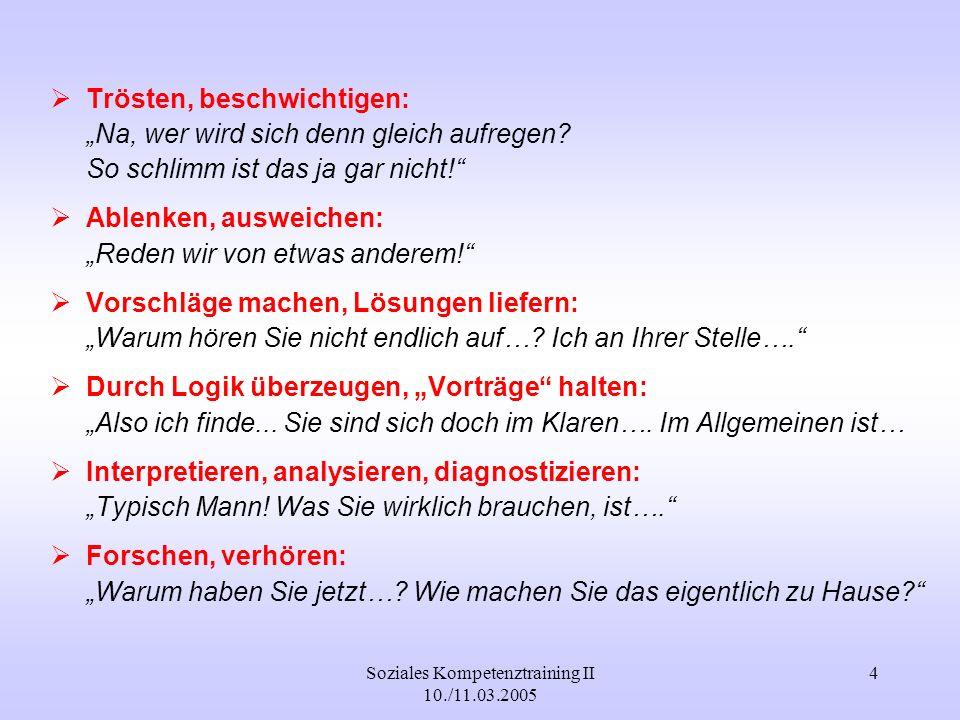 Soziales Kompetenztraining II 10./11.03.2005 4 Trösten, beschwichtigen: Na, wer wird sich denn gleich aufregen? So schlimm ist das ja gar nicht! Ablen