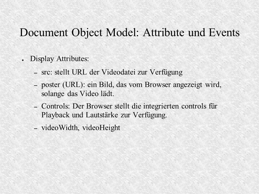 Document Object Model: Attribute und Events Display Attributes: – src: stellt URL der Videodatei zur Verfügung – poster (URL): ein Bild, das vom Brows