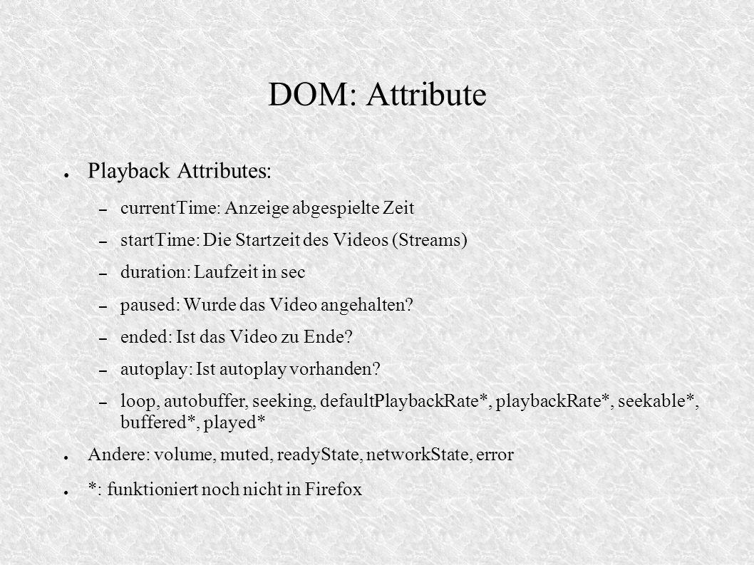 DOM: Attribute Playback Attributes: – currentTime: Anzeige abgespielte Zeit – startTime: Die Startzeit des Videos (Streams) – duration: Laufzeit in se