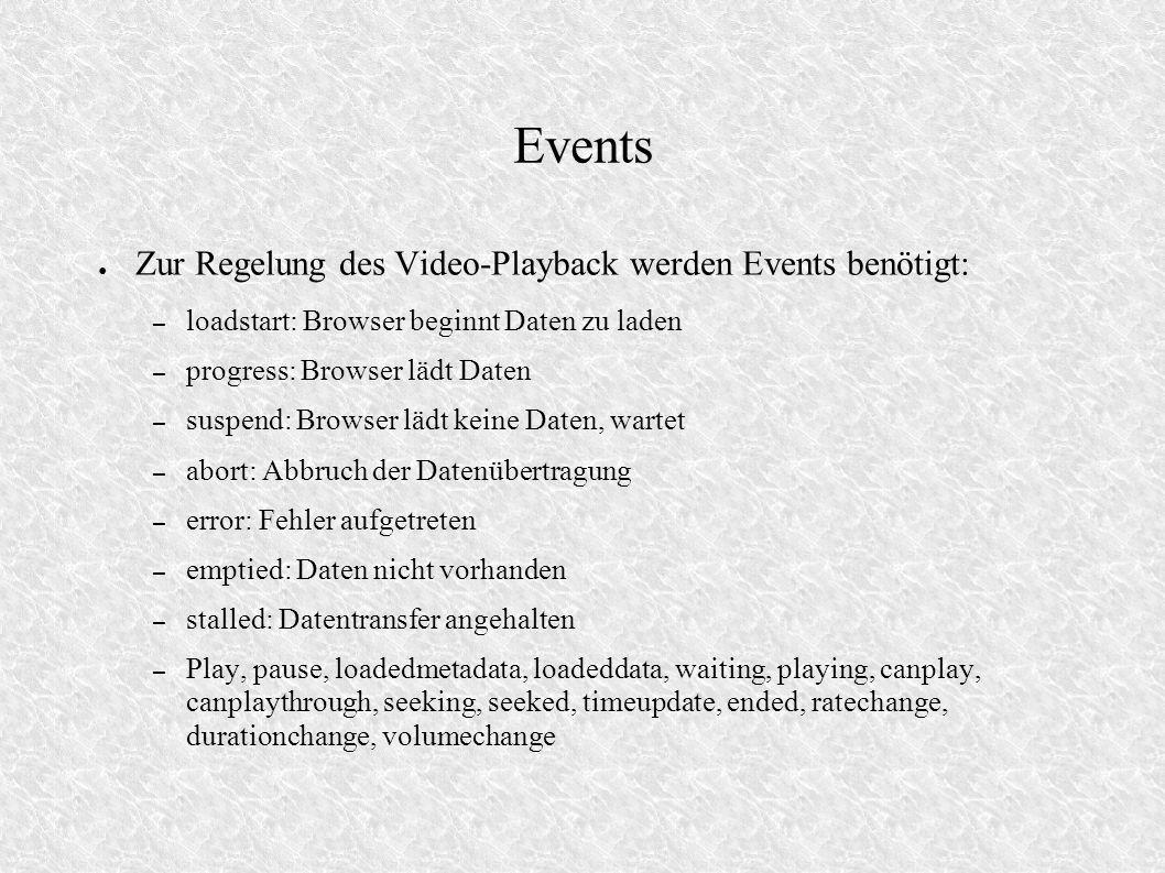 Events Zur Regelung des Video-Playback werden Events benötigt: – loadstart: Browser beginnt Daten zu laden – progress: Browser lädt Daten – suspend: B