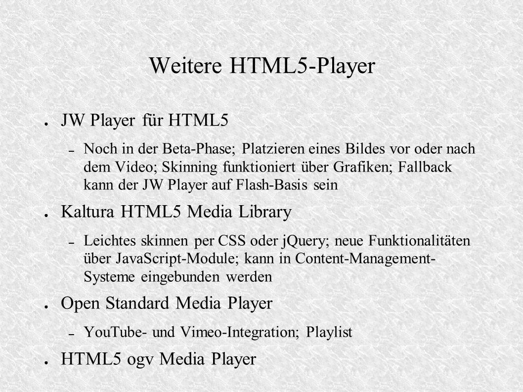 Weitere HTML5-Player JW Player für HTML5 – Noch in der Beta-Phase; Platzieren eines Bildes vor oder nach dem Video; Skinning funktioniert über Grafike