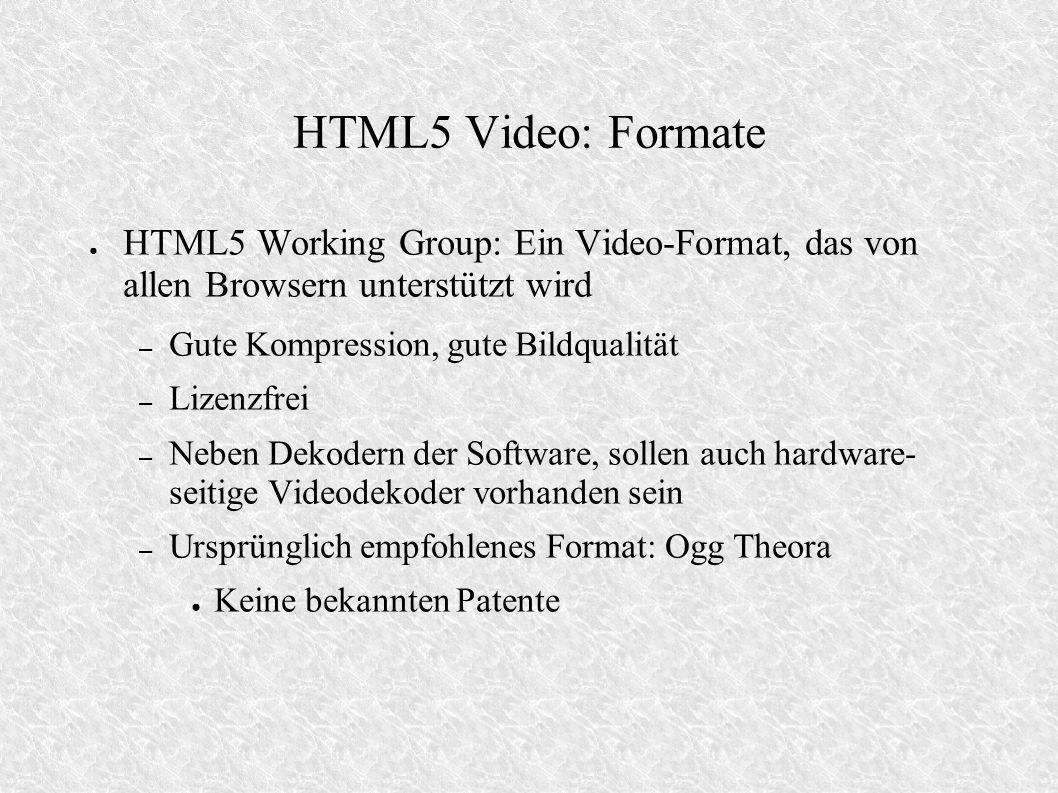 HTML5 Video: Formate HTML5 Working Group: Ein Video-Format, das von allen Browsern unterstützt wird – Gute Kompression, gute Bildqualität – Lizenzfrei