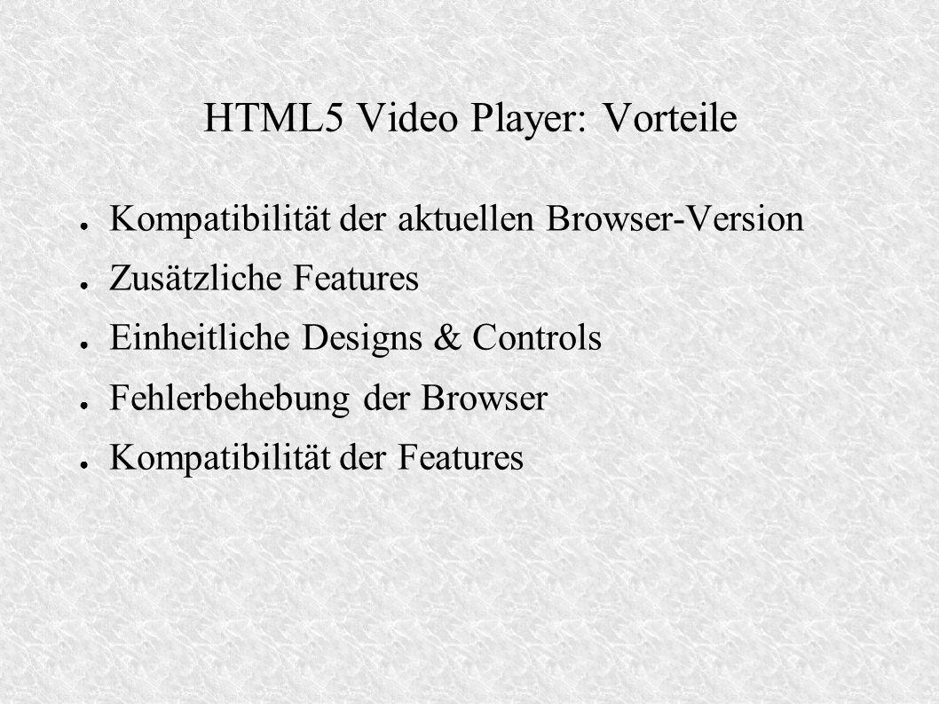 HTML5 Video Player: Vorteile Kompatibilität der aktuellen Browser-Version Zusätzliche Features Einheitliche Designs & Controls Fehlerbehebung der Brow