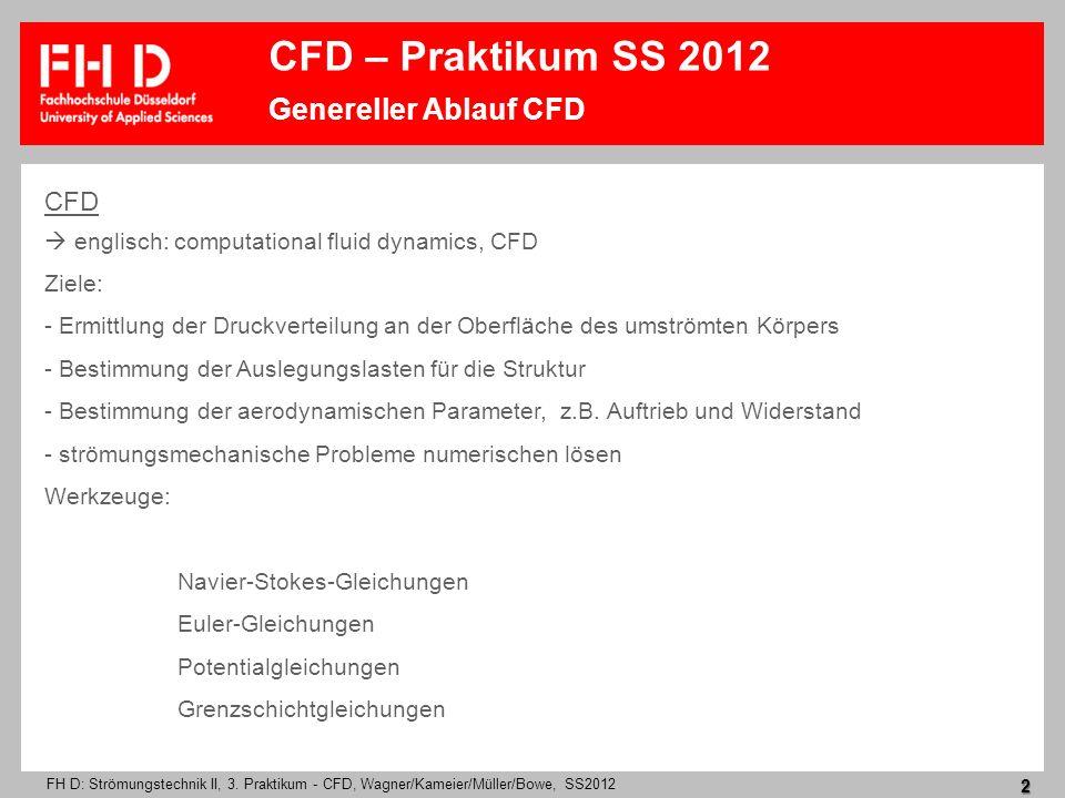 FH D: Strömungstechnik II, 3. Praktikum - CFD, Wagner/Kameier/Müller/Bowe, SS2012 2 CFD englisch: computational fluid dynamics, CFD Ziele: - Ermittlun