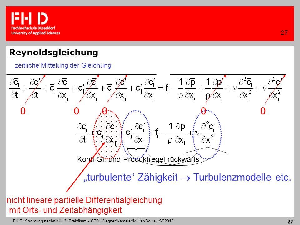 FH D: Strömungstechnik II, 3. Praktikum - CFD, Wagner/Kameier/Müller/Bowe, SS2012 27 27 Reynoldsgleichung turbulente Zähigkeit Turbulenzmodelle etc. z