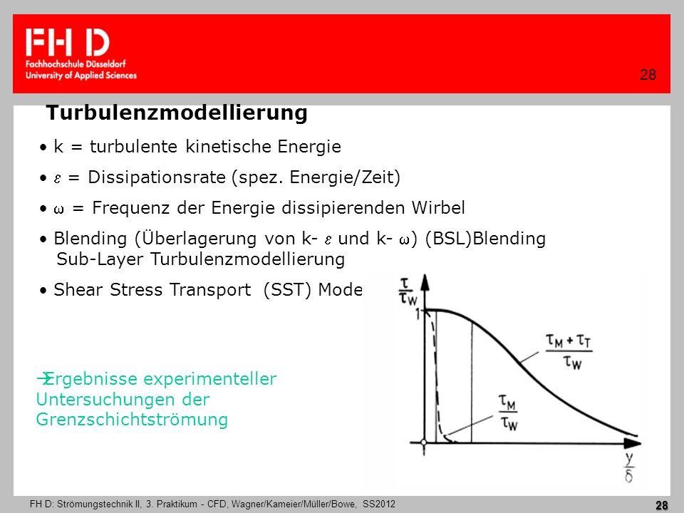 FH D: Strömungstechnik II, 3. Praktikum - CFD, Wagner/Kameier/Müller/Bowe, SS2012 28 28 Turbulenzmodellierung k = turbulente kinetische Energie = Diss
