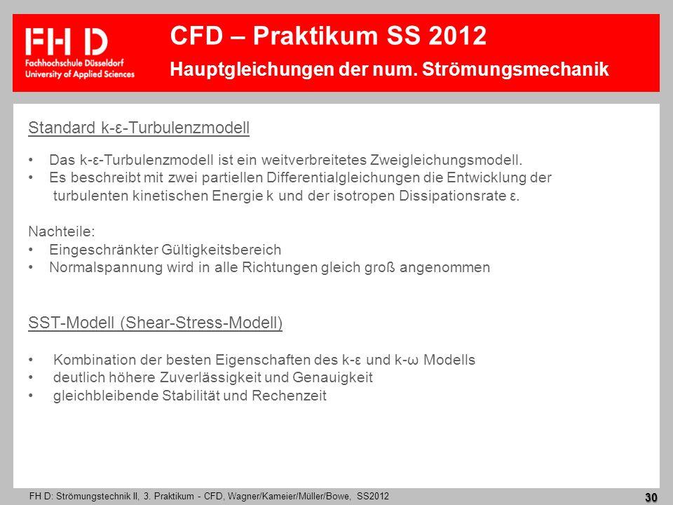 FH D: Strömungstechnik II, 3. Praktikum - CFD, Wagner/Kameier/Müller/Bowe, SS2012 30 Standard k-ε-Turbulenzmodell Das k-ε-Turbulenzmodell ist ein weit