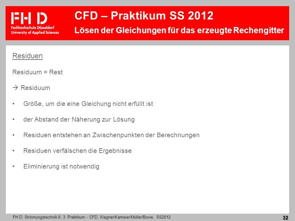 FH D: Strömungstechnik II, 3. Praktikum - CFD, Wagner/Kameier/Müller/Bowe, SS2012 32 Residuen Residuum = Rest Residuum Größe, um die eine Gleichung ni