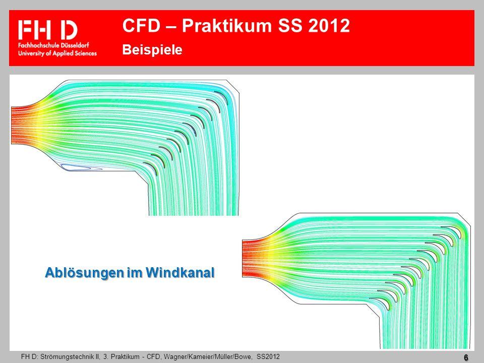 FH D: Strömungstechnik II, 3. Praktikum - CFD, Wagner/Kameier/Müller/Bowe, SS2012 6 Ablösungen im Windkanal CFD – Praktikum SS 2012 Beispiele