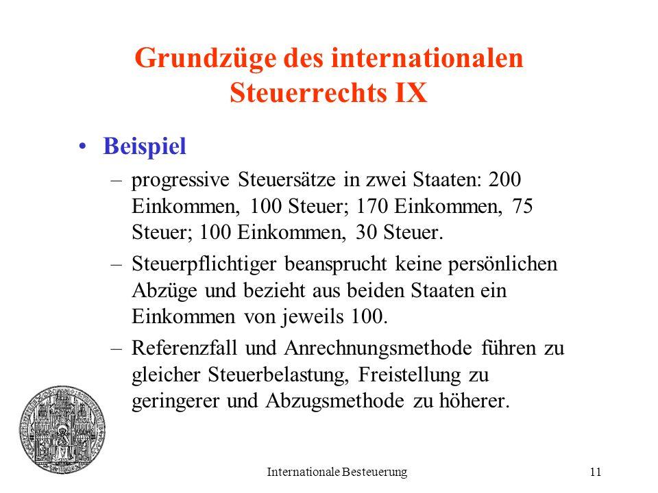 Internationale Besteuerung11 Grundzüge des internationalen Steuerrechts IX Beispiel –progressive Steuersätze in zwei Staaten: 200 Einkommen, 100 Steue