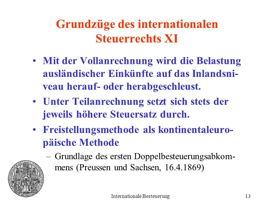 Internationale Besteuerung13 Grundzüge des internationalen Steuerrechts XI Mit der Vollanrechnung wird die Belastung ausländischer Einkünfte auf das I