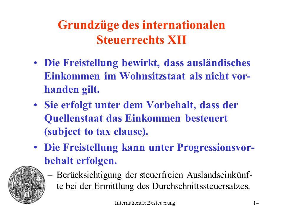 Internationale Besteuerung14 Grundzüge des internationalen Steuerrechts XII Die Freistellung bewirkt, dass ausländisches Einkommen im Wohnsitzstaat al