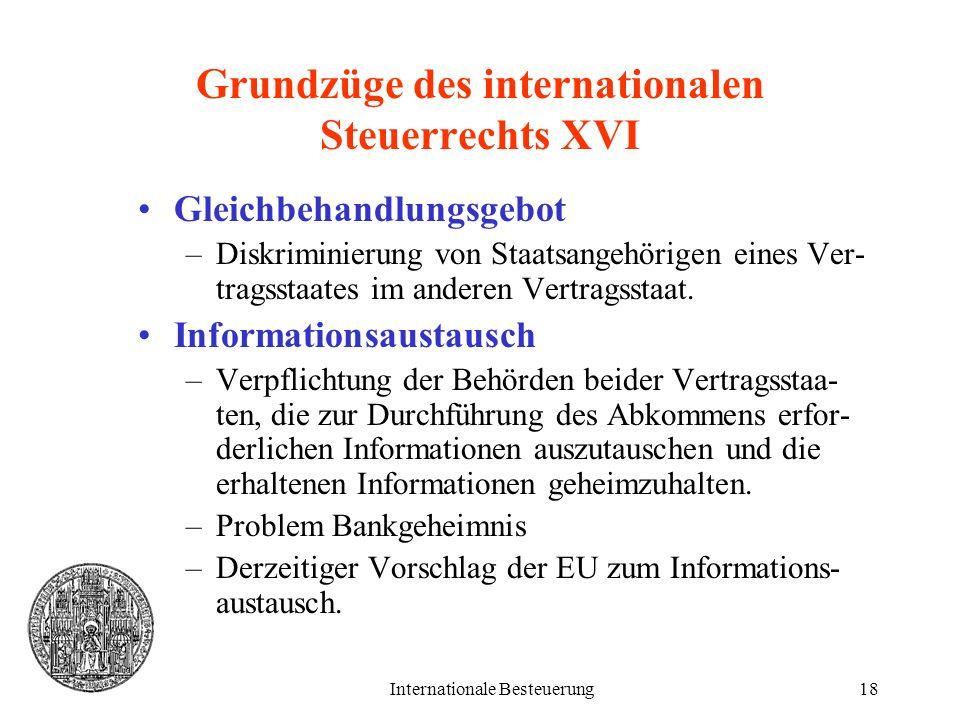 Internationale Besteuerung18 Grundzüge des internationalen Steuerrechts XVI Gleichbehandlungsgebot –Diskriminierung von Staatsangehörigen eines Ver- t