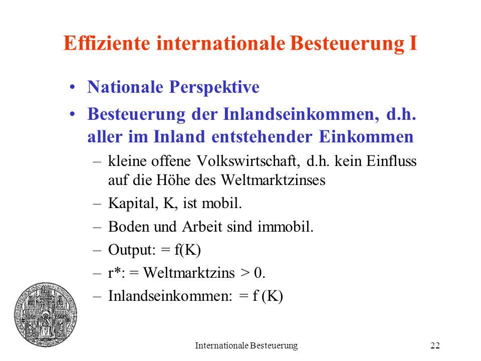 Internationale Besteuerung22 Effiziente internationale Besteuerung I Nationale Perspektive Besteuerung der Inlandseinkommen, d.h. aller im Inland ents