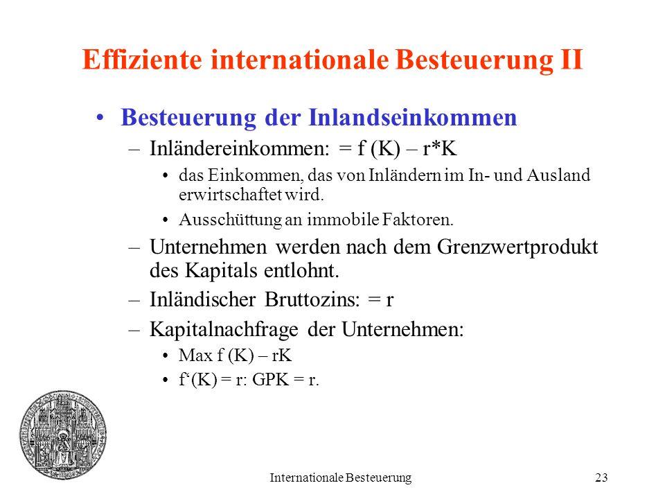 Internationale Besteuerung23 Effiziente internationale Besteuerung II Besteuerung der Inlandseinkommen –Inländereinkommen: = f (K) – r*K das Einkommen
