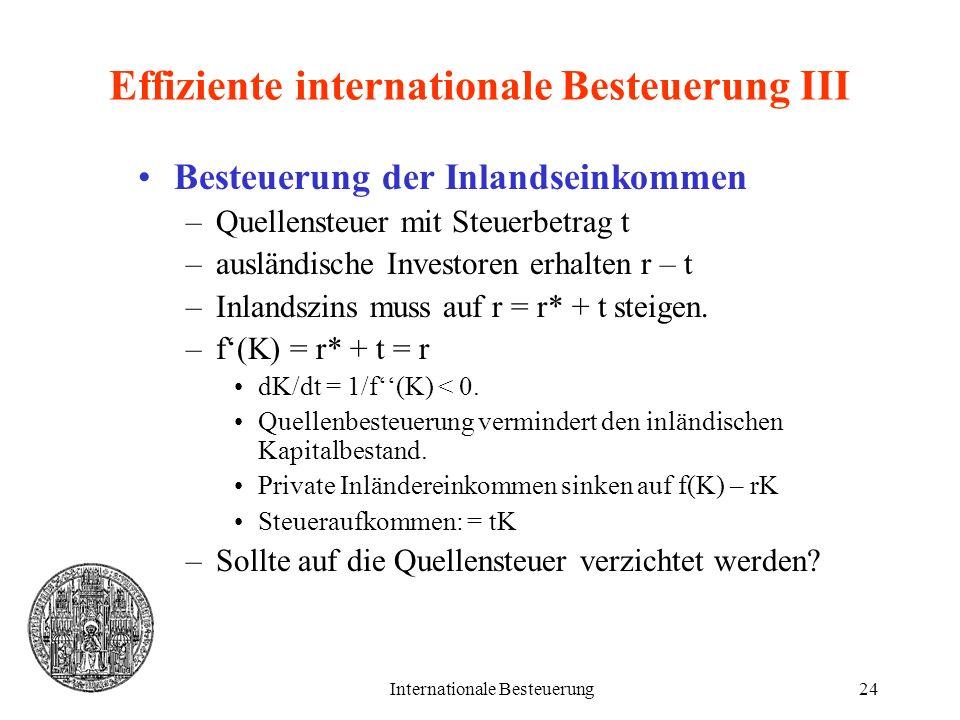 Internationale Besteuerung24 Effiziente internationale Besteuerung III Besteuerung der Inlandseinkommen –Quellensteuer mit Steuerbetrag t –ausländisch