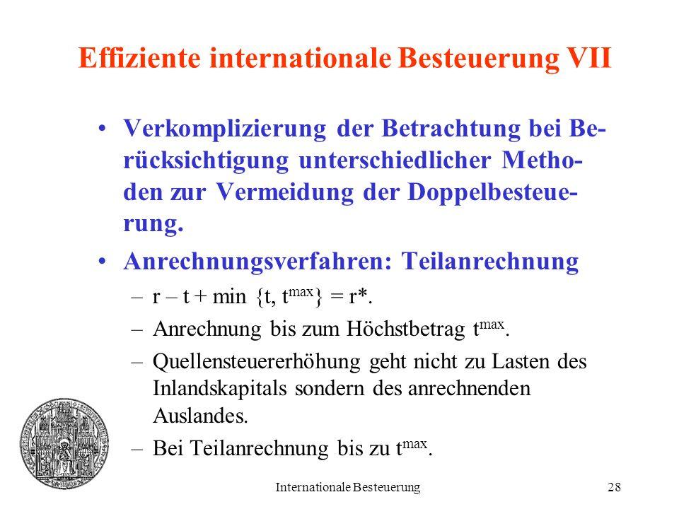 Internationale Besteuerung28 Effiziente internationale Besteuerung VII Verkomplizierung der Betrachtung bei Be- rücksichtigung unterschiedlicher Metho