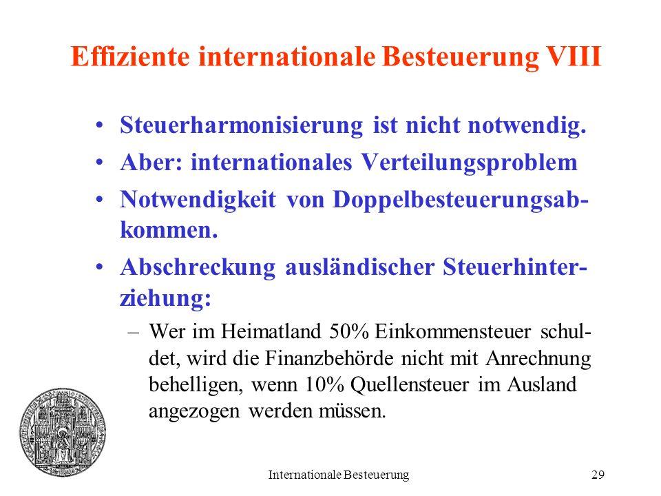 Internationale Besteuerung29 Effiziente internationale Besteuerung VIII Steuerharmonisierung ist nicht notwendig. Aber: internationales Verteilungspro