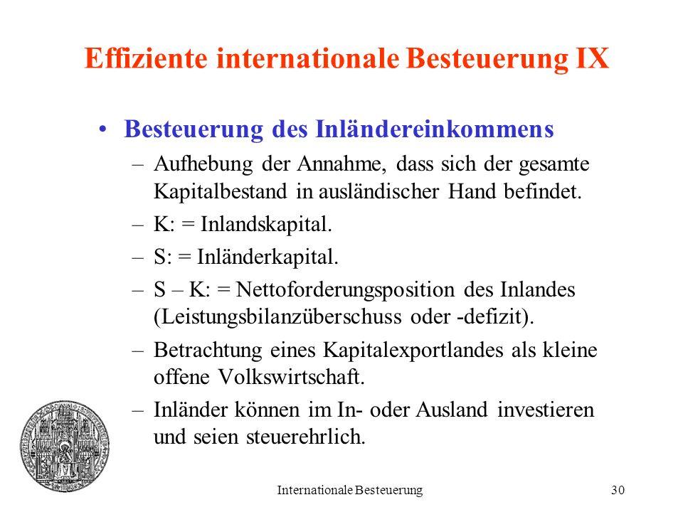 Internationale Besteuerung30 Effiziente internationale Besteuerung IX Besteuerung des Inländereinkommens –Aufhebung der Annahme, dass sich der gesamte