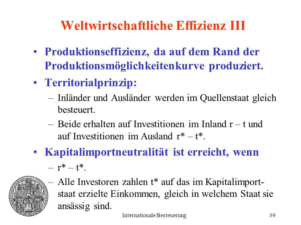 Internationale Besteuerung39 Weltwirtschaftliche Effizienz III Produktionseffizienz, da auf dem Rand der Produktionsmöglichkeitenkurve produziert. Ter