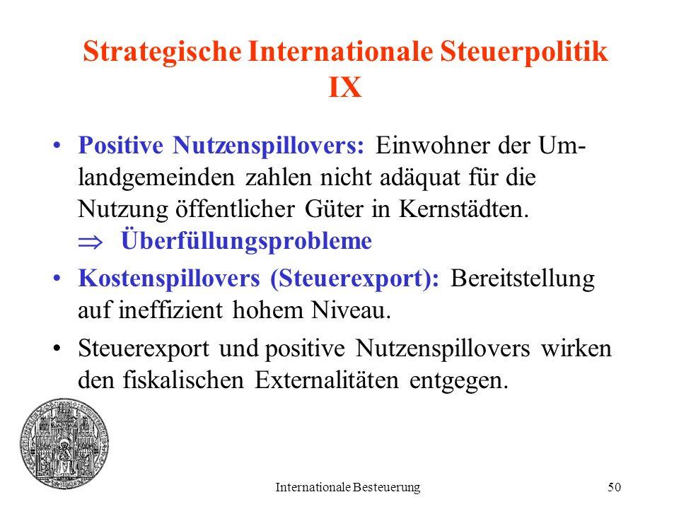 Internationale Besteuerung50 Strategische Internationale Steuerpolitik IX Positive Nutzenspillovers: Einwohner der Um- landgemeinden zahlen nicht adäq