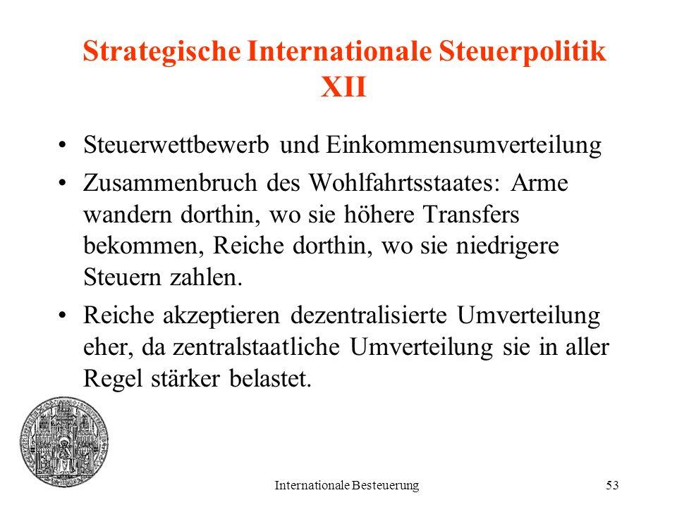 Internationale Besteuerung53 Strategische Internationale Steuerpolitik XII Steuerwettbewerb und Einkommensumverteilung Zusammenbruch des Wohlfahrtssta